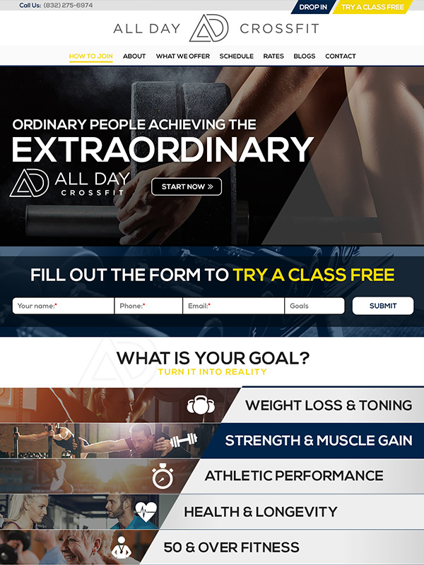 Top 10 Website Design Winner All Day Fitness Gym's Website