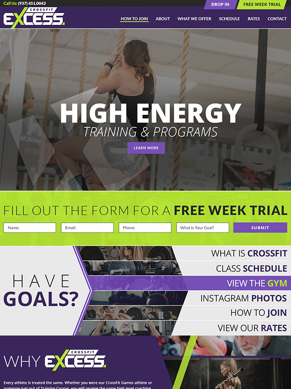 CrossFit Excess Website Design And Google Search Engine Optimization