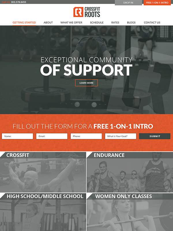 CrossFit Roots Gym Website Design
