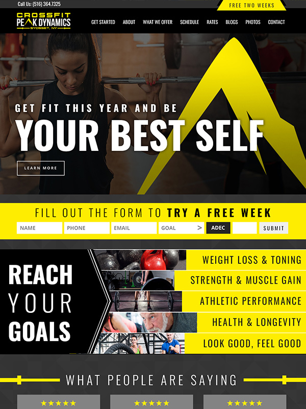 Peak 180 Gym Website Design And Search Engine Optimization For Google