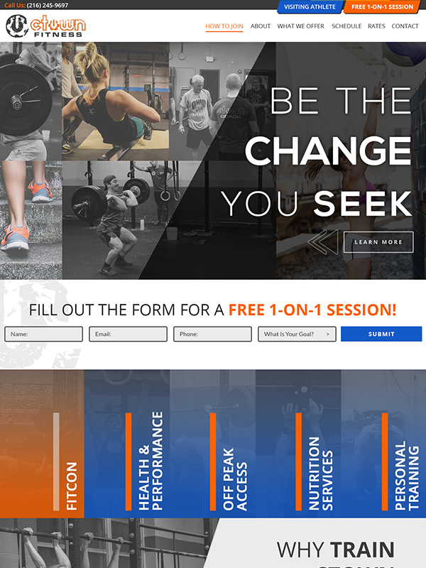 Fitness Website Design Example Train CTOWN Gym Search Engine Optimization