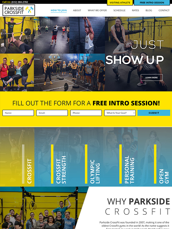 Fitness Gym Online Lead Generation Website Design By Siteplicity For Park Side CrossFit Gym