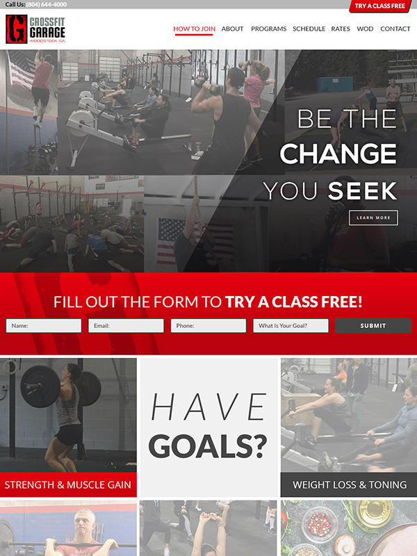 Garage Fitness Website Design And Text Message Marketing Tools For Gyms