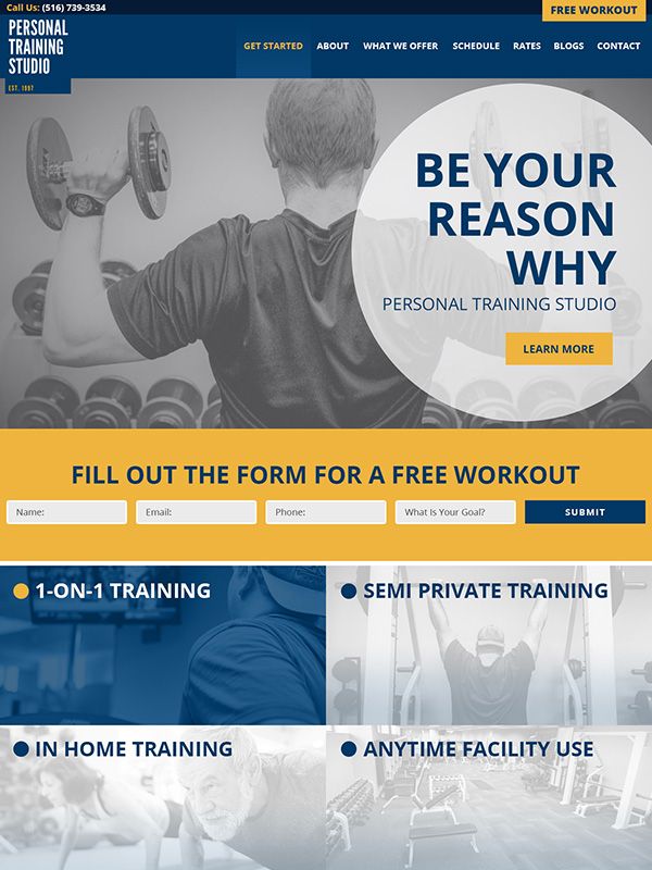 Personal Training Studio Website Design