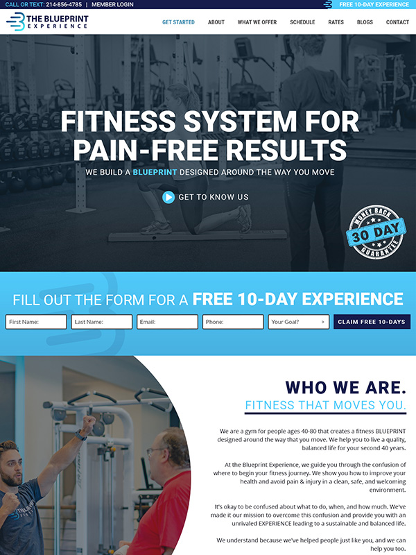 Blueprint Health Club Website Design And Marketing Automation